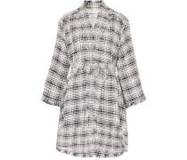 Tweed-mantel Aus Einer Baumwollmischung Mit Bindegürtel -