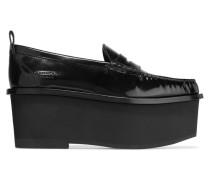 Plateau-loafers Aus Schwarzem Lackleder