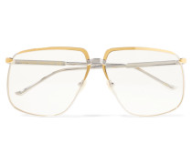 Gold- und Silberfarbene Brille