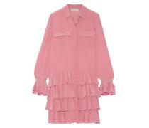 Ealienor Minikleid Aus Crêpe De Chine Aus Seide Mit Rüschen - Pink
