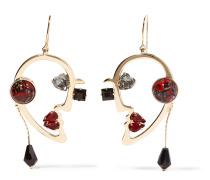 Vergoldete Ohrringe mit mehreren Steinen