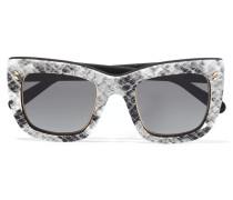 Sonnenbrille Mit Eckigem Rahmen Aus Bedrucktem Azetat -