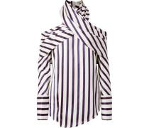 Asymmetrische Bluse aus Twill mit Streifen