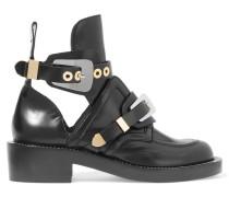 Ankle Boots Aus Glanzleder Mit Cut-outs - Schwarz