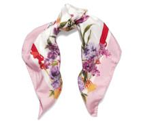 Tuch Aus Seiden-twill Mit Blumenprint - Pink