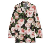 Hemd aus Seiden-charmeuse mit Blumenprint