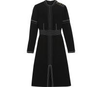 Besticktes Kleid Aus Crêpe Aus Einer Woll-seidenmischung - Schwarz