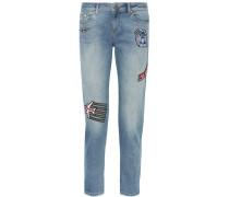 Halbhohe Skinny Jeans Mit Applikationen -