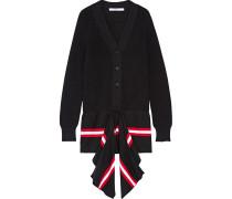 Drapierter Cardigan Aus Einer Baumwollmischung Mit Streifen - Schwarz