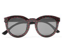 Sonnenbrille Aus Azetat Mit Rundem Rahmen Und Glittereffekt - Schwarz