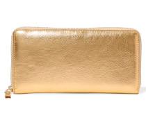 Portemonnaie Im Europäischen Stil Aus Strukturiertem Leder In Metallic-optik - Gold