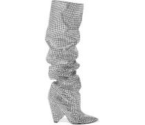 Niki Kniehohe Lederstiefel mit Swarovski-kristallen -