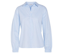 Estelle Gestreiftes Hemd Aus Baumwollpopeline - Hellblau