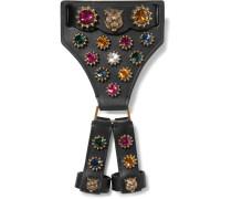 Armband Aus Leder Mit Kristallen Und Goldfarbenen Details -