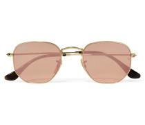 Icons Verspiegelte Sonnenbrille Mit Eckigem Goldfarbenem Rahmen