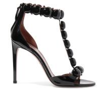 Sandalen Aus Lackleder Mit Nieten - Schwarz