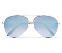 Verspiegelte Pilotensonnenbrille Mit Goldfarbenem Gestell - Blau