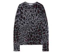 Sloane Kaschmirpullover Mit Leopardenprint - Dunkelgrau