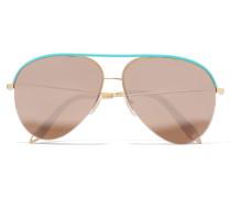 Classic Victoria Goldfarbene Verspiegelte Pilotensonnenbrille Mit Lederdetail