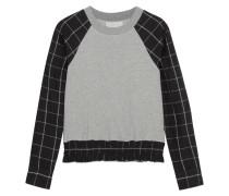 Sweatshirt Aus Baumwoll-jersey Mit Karierten Einsätzen -