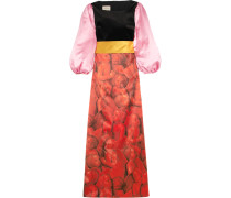 Bedruckte Robe Aus Seidensatin Und Samt Mit Verzierung -