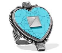Brünierter Silberfarbener Ring Mit Emaille