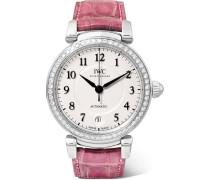 Da Vinci Automatic 36 Mm Uhr aus Edelstahl mit Diamanten und Alligatorlederarmband -