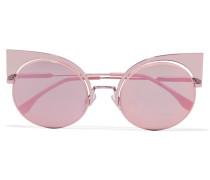 Verspiegelte Sonnenbrille Mit Cat-eye-rahmen Aus Metall - Pink