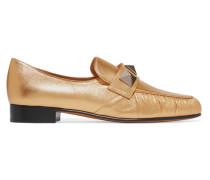 Rockstud Loafers Aus Strukturiertem Metallic-leder -