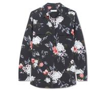 Slim Signature Hemd Aus Vorgewaschener Seide Mit Blumendruck -