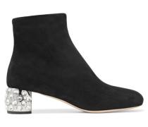 Ankle Boots Aus Veloursleder Mit Kristallverzierung -