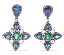 Ohrringe aus 18 Karat Gold und Sterlingsilber mit Mehreren Steinen -