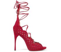 Carine Sandalen Aus Lasergeschnittenem Veloursleder - Rot