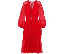Kleid aus Schnurgebundener Spitze mit Troddeln -