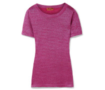 T-shirt Aus Stretch-strick In Metallic-optik -