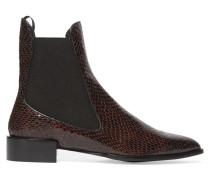 Belvoir Ankle Boots Aus Leder Mit Schlangeneffekt - Merlot