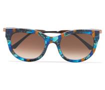 Lively Sonnenbrille Mit Cat-eye-rahmen Aus Azetat Mit Roségoldfarbenen Details - Blau