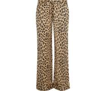 Avery Pyjama-Hose aus vorgewaschener Seide mit Leopardenprint