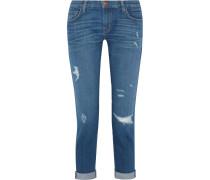 The Fling Boyfriend-jeans Mit Schmalem Schnitt In Distressed-optik - Mittelblauer Denim