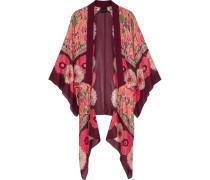 Poppy Buds Bedruckter Kimono Aus Einer Baumwoll-seidenmischung - Burgunder