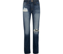 Hoch Sitzende Boyfriend-jeans In Distressed-optik - Indigo