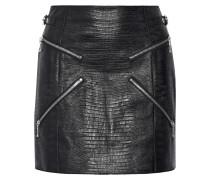 Minirock aus Leder mit Eidechseneffekt und Reißverschlussverzierungen