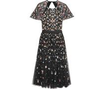 Starburst Verziertes Kleid Aus Tüll Mit Freier Rückenpartie - Schwarz