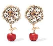 farbene Ohrringe mit Kristallen und Emaille