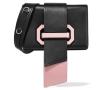 Ribbon Plexi Zweifarbige Schultertasche Aus Strukturiertem Leder -