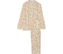 Avery Bedruckter Pyjama Aus Vorgewaschener Seide - Weiß