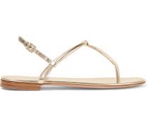 Sandalen aus genarbtem Metallic-Leder