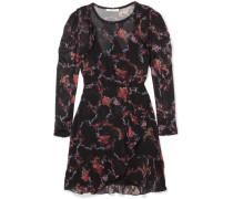 Loxie Bedrucktes Minikleid Aus Georgette Mit Wickeleffekt Und Rüschen -