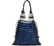 Schultertasche Aus Leder Mit Perlenverzierungen - Blau