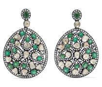 Ohrringe aus 18 Karat Gold und Sterling mit Smaragden und Diamanten